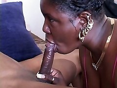 Ugly naughty blowlerina Bi Nature loves riding a stiff black meatpipe