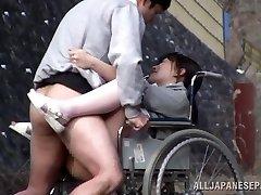 Horny Asian nurse sucks man sausage in front of a voyeur