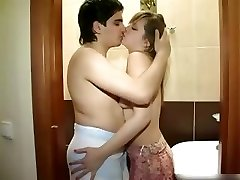 New couple nailing in the bathroom