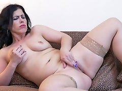 Chubby big racked Milf Montse Swinger is absorbed with fingering monstrous cunt