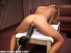 Petite french blonde demolished by a violent dildo machine