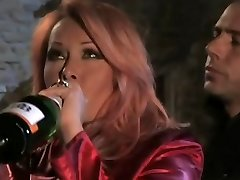 Drunk redhead Italian MILF having orgy by candlelight