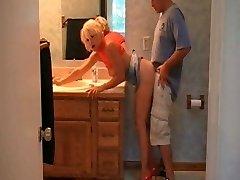 Blonde Cougar Plumbed In Heels