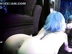 Mirror Dildo Penetrate Double Penetration Blue Hair Tattoo Emo Webcam Slut Punk HD