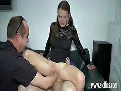 Teen girl double fist and trouser snake penetration