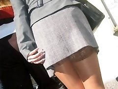 real girls,  real life pantyhose in the street