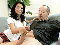 White Monster Cock old Boss Seduce Hairy Teen to Boink