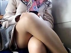Upskirt on train hidden cam voyeur Five