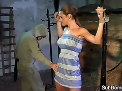 Dominated babe orgasms while trussed