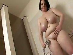 Big tit BBW take a shower