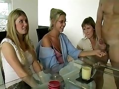 Three Moms Jerking Cock