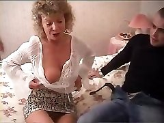 British granny goes totally insane and tries to fuck with her grandson's friend
