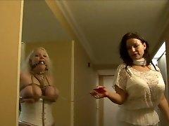 Full figured girl hogtied in white lingerie