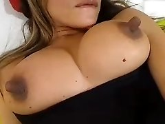 She fingers her pussy and sucks her long nipples