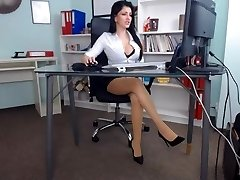 Beautiful girl in her office