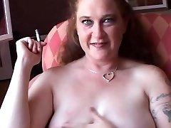 Shy chubby babe loves talking dirty during a smoke break