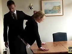 Throatfucked UK sub spanked until red raw