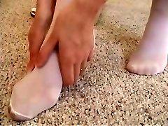 Erika...white stockings and a dildo