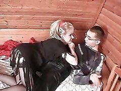 Older lady and juvenile boy