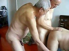 Two grandpas fuck grand-dad