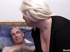 Hot blonde plumper riding married chap's cock