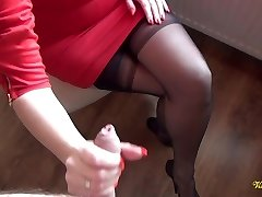 Jizz all over nylon stockings