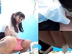 Japanese teens pee in toilet