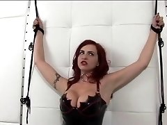 Hot sandy-haired in leather and perky tits gets ducked by fake penis