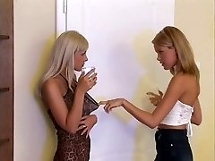 Two Blondes Have Some Fun On A Washing Machine