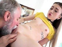 Elderly Goes Young - Lovely Vlada splits open her lengthy legs