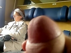 Train Man Meat flash to Mature - with Cum