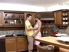 boy fucks hot mature mom in the kitchen