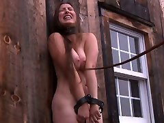 Village discreet chick gets strapped up in the deserted shed