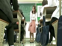 Remote vibrator under teacher miniskirt
