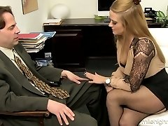 Office whore Holly Heart takes off bra and skirt and lures one kinky guy