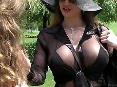 Lusty beauty Cathy Heaven and her GF enjoy anal threeway