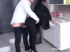 Czech Muslim bi-atch Freya Dee was surprised in the bathroom.