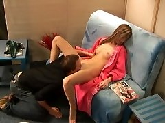 Russian cutie gets licked in a shaving parlour