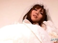 Hot asian bride gets poon vibed and fingered upskirt