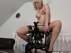 Crazy mature rides on sex chair