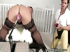 Mature mistress takes control over faux-cock