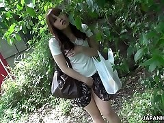 Handsome and curious ginger-haired Asian teen watches sex on the street and masturbates