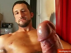 A very sexy Italian stalion get wanked his phat man sausage in spite of him !