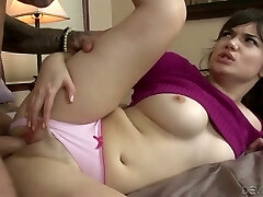 Attractive gal nailed hard in a missionary stance