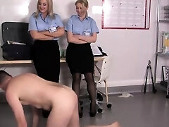 Uniformed femdoms mistreat boot fetish slave