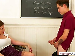 Charming and horn-mad prof with tastey booty Sovereign Syre is banged on table