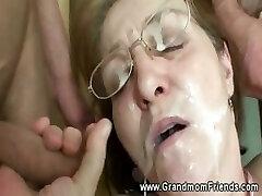 Super-naughty granny gets facial from men