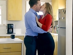 Ample breasted wife Lena Paul is pounded by horny husband in the kitchen