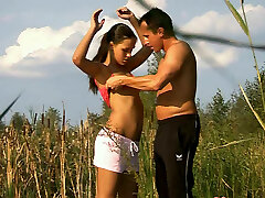 Straight haired teen called Vitoria seduces a fisherman and sucks his dick