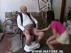 Old Man Doing Teenager After Showing Off A Bike
